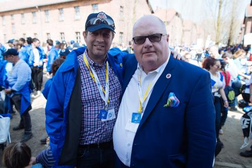 Scott Saunders and Sir Eric Pickles before the March